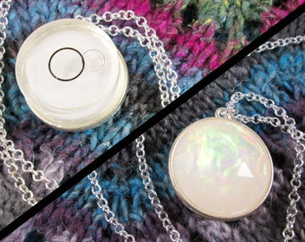 Spirit Level Necklace - Double Sided - White - Faux Fire Opal - Silver - Stim Toy