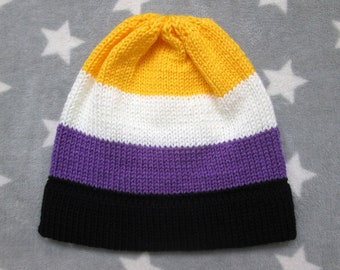 Knit Pride Hat - Nonbinary Pride - Fitted Beanie