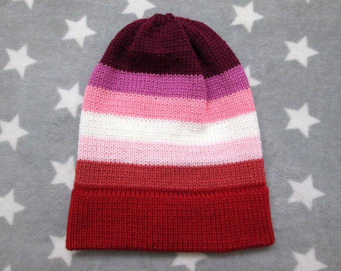 Knit Pride Hat - Lesbian Pride - Slouchy Beanie