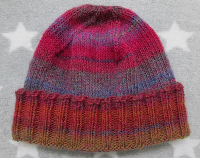 Knit Hat - Rusty Pink & Purple - Fitted Beanie - Handknit