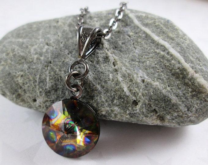 Swarovski Crystal Necklace - Peacock Eye Rainbow
