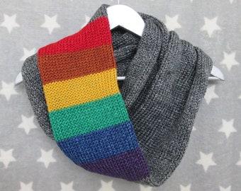 Rainbow Pride Infinity Scarf - LGBT Rainbow - Heathered Dark Grey - Acrylic