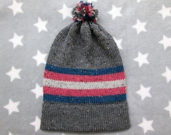 Knit Pride Hat - Trans Pride - Grey Wool Tweed