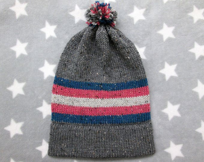 Knit Pride Hat - Trans Pride - Grey Wool Tweed