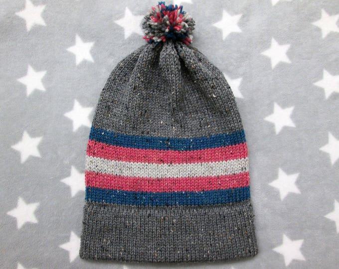 Knit Pride Hat - Trans Pride - Grey Wool Tweed - Big Slouchy Beanie