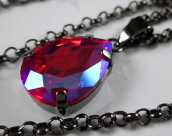 Rhinestone Crystal Necklace - Red Light Siam AB Teardrop