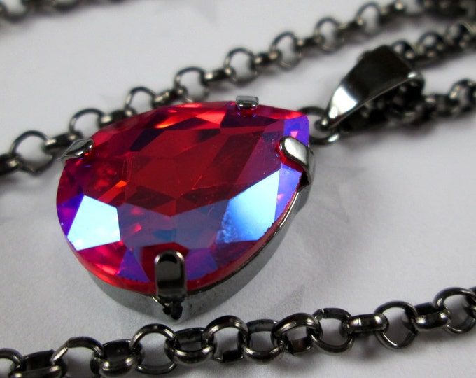 Rhinestone Crystal Necklace - Red Light Siam AB Teardrop