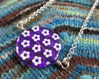 Spinner Pendant Necklace - Purple Flowers - Long Chain