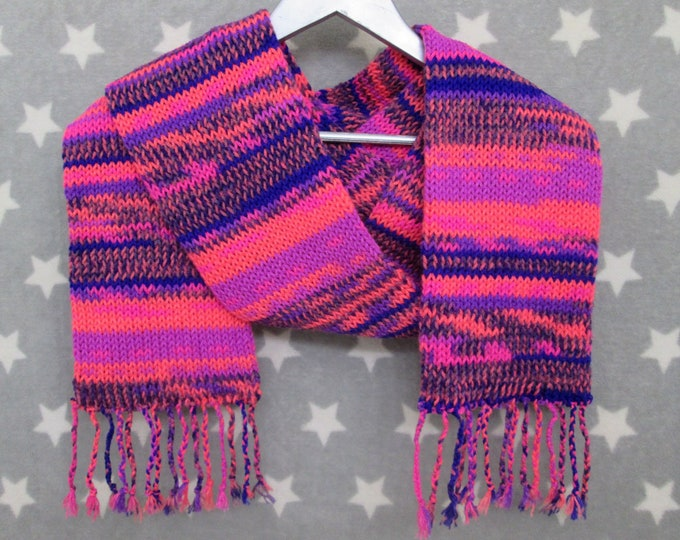 Knit Scarf - Neon Pink & Blue Chaos Scarf - Acrylic