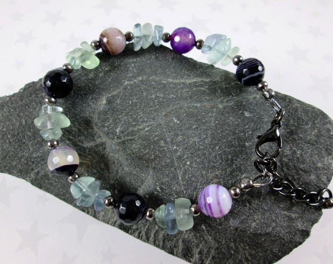 Fluorite & Agate Bracelet - Purple Green Black - Gunmetal - Adjustable