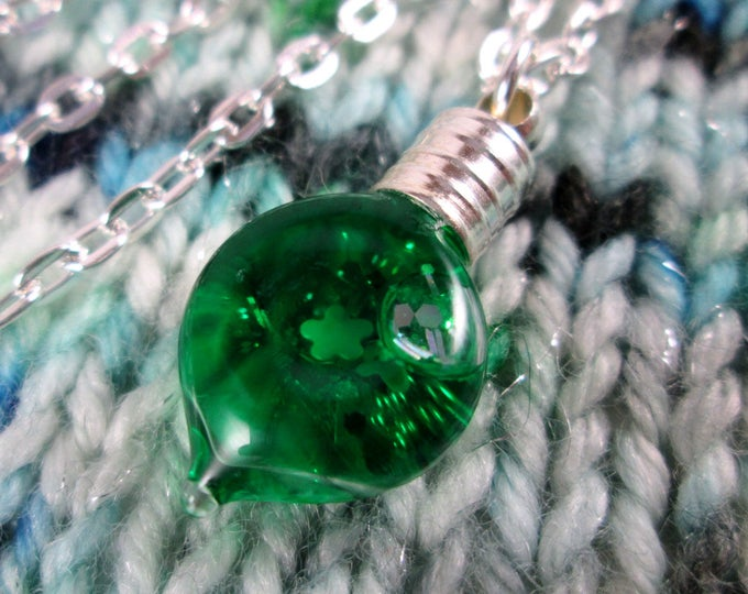 Glitter Liquid Necklace - Green Leaf - Tiny Snowglobe Charm - Silver Chain