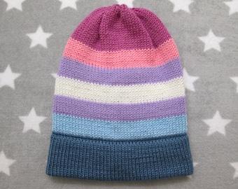 912687107b1 Knit Pride Hat - Bigender Pride - Slouchy Beanie - Acrylic