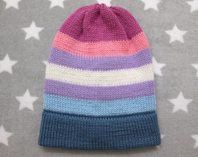Knit Pride Hat - Bigender Pride - Slouchy Beanie - Acrylic