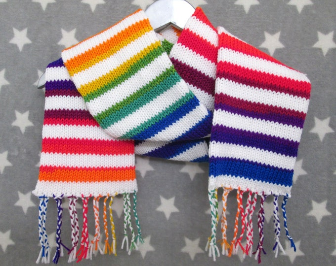 Rainbow Scarf - Rainbow and White Stripes - Acrylic