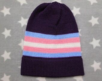 Knit Pride Hat - Trans Pride - Purple Slouchy Beanie - Acrylic