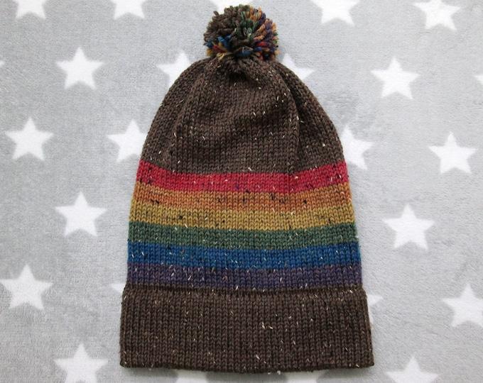 Knit Pride Hat - LGBT Rainbow - Brown Wool Tweed - Big Slouchy Beanie