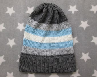Knit Pride Hat - Demiboy Pride - Slouchy Beanie