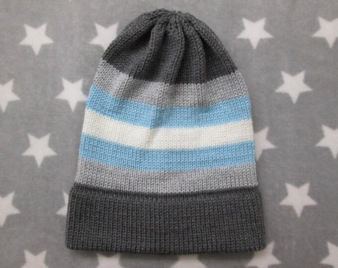 Knit Pride Hat - Demiboy Pride - Slouchy Beanie - Acrylic