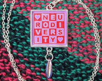 Neurodiversity Necklace - Red and Pink - Square Checker Design with Bead