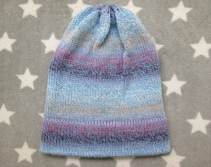 Knit Hat - Pastel Gradient - Blue Purple White Peach - Slouchy Beanie