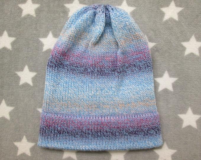 Knit Hat - Pastel Gradient - Blue Purple White Peach - Slouchy Beanie - Acrylic