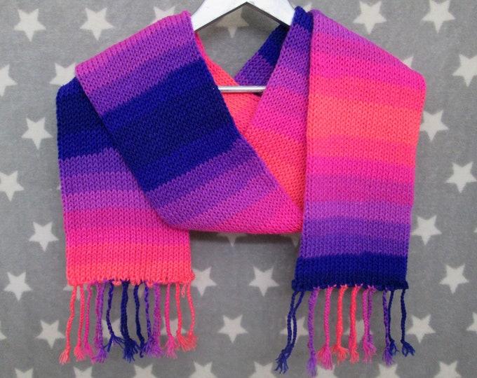 Knit Scarf - Pink & Blue Neon Sunset Stripe Scarf - Acrylic