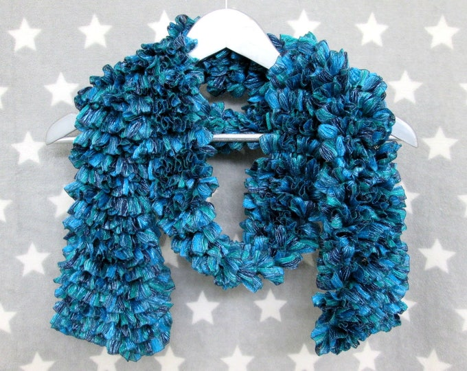 Feathery Ruffle Scarf - Blue Sparkles