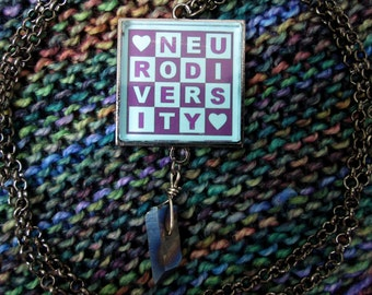 Neurodiversity Necklace & Crystal - Purple and Turquoise - Square Checker Design