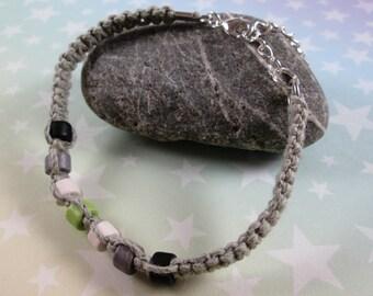 Hemp Pride Bracelet - Agender Pride - Light Grey - Ceramic Beads