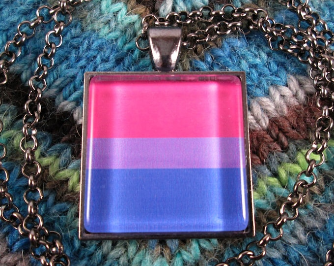 Bisexual Pride Flag Necklace - Gunmetal - Rolo Chain