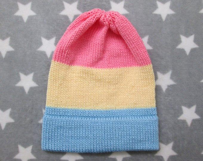 Knit Pride Hat - Pastel Pan Pride - Slouchy Beanie