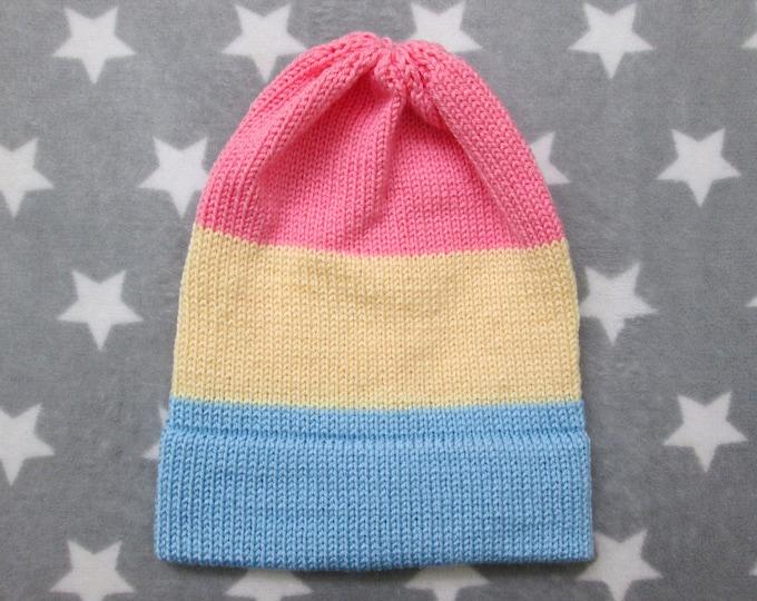 Knit Pride Hat - Pastel Pan Pride - Slouchy Beanie - Acrylic