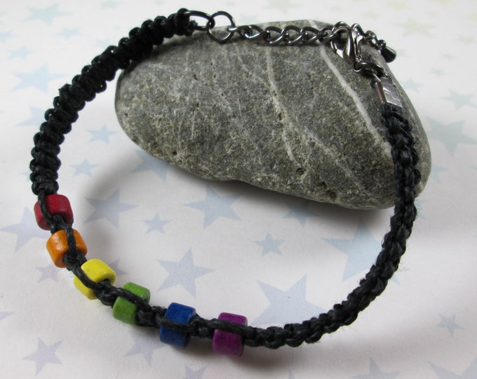 Hemp Pride Bracelet - LGBT Rainbow Pride - Black - Ceramic Beads