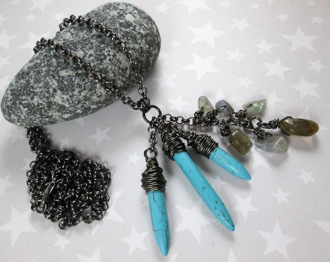 Cluster Necklace - Turquoise Magnesite & Labradorite