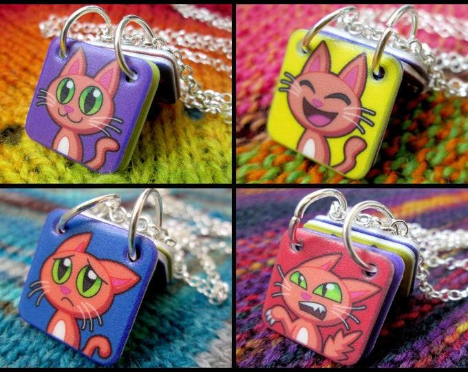 Emoticon Cats Necklace - Silver Rolo Chain