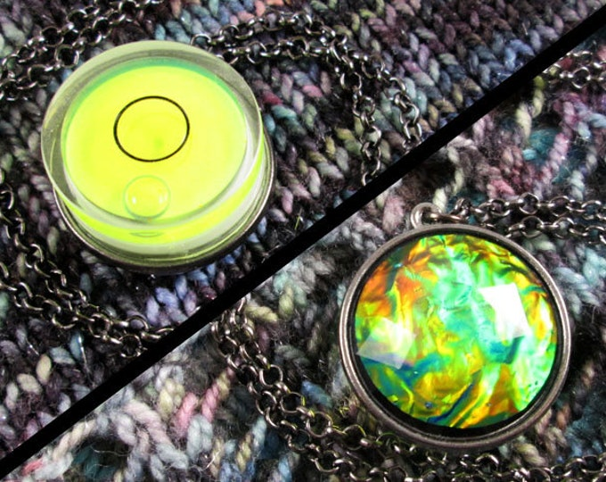 Spirit Level Necklace - Double Sided - Neon Yellow - Faux Fire Opal - Gunmetal - Stim Toy