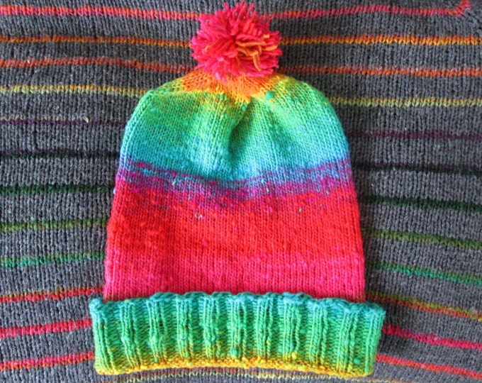 Knit Slouchy Noro Hat - Bright Rainbow Gradient - Wool