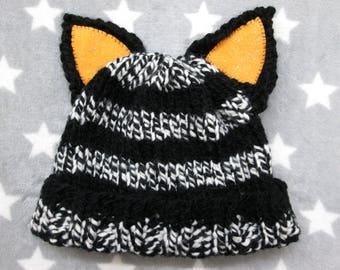 Cat Hat - Black & Marbled White Stripes - Halloween - Orange Glitter Ears