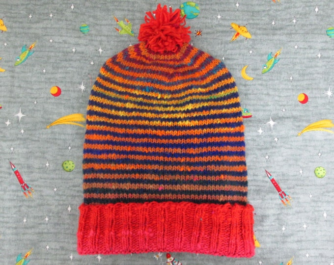 Knit Slouchy Noro Hat - Red Sunset Stripes - Wool