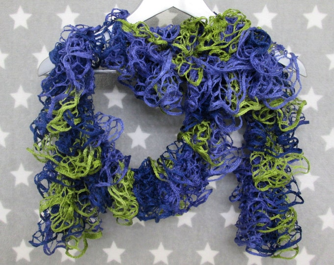 Squiggly Scarf - Blue Purple Lime