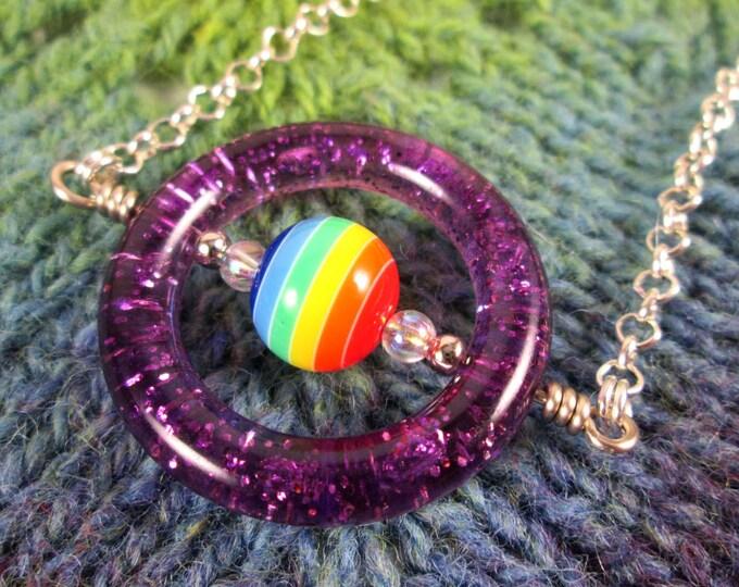 Saturn Spinner Pendant Necklace - Purple Rainbow Glitter - Long Chain