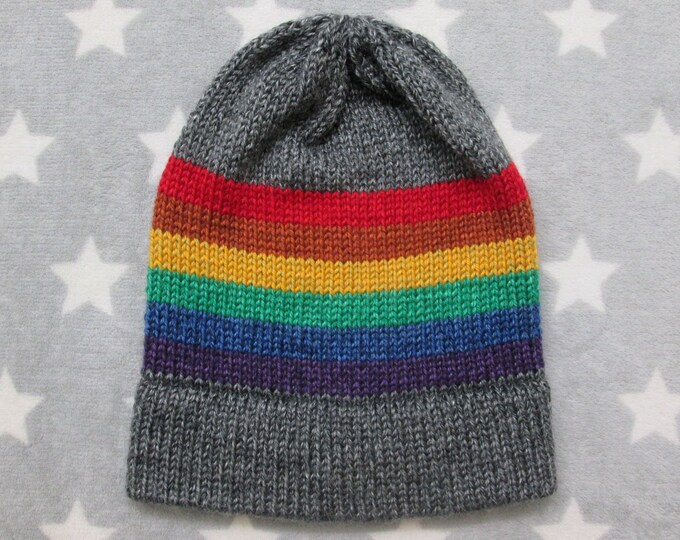 Knit Pride Hat - LGBT Rainbow - Heathered Dark Grey - Slouchy Beanie - Acrylic