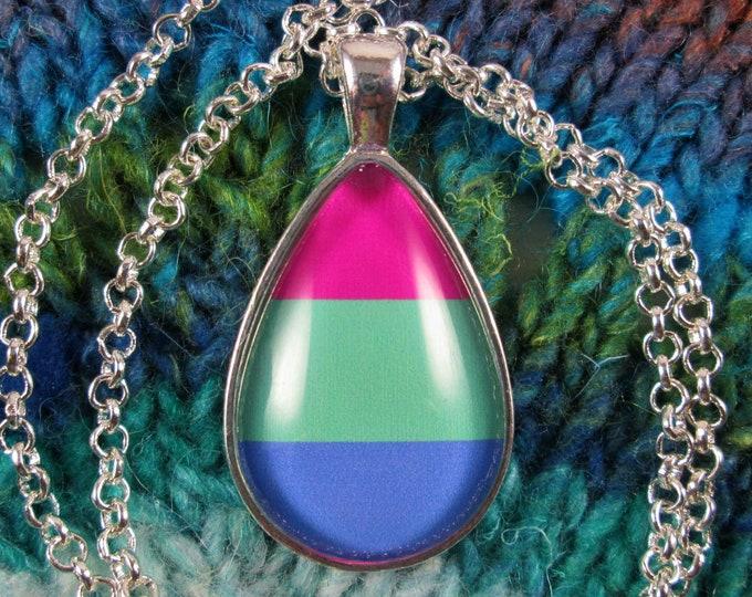 Polysexual Pride - Polysexual Pride Flag Pendant Necklace - Silver Teardrop