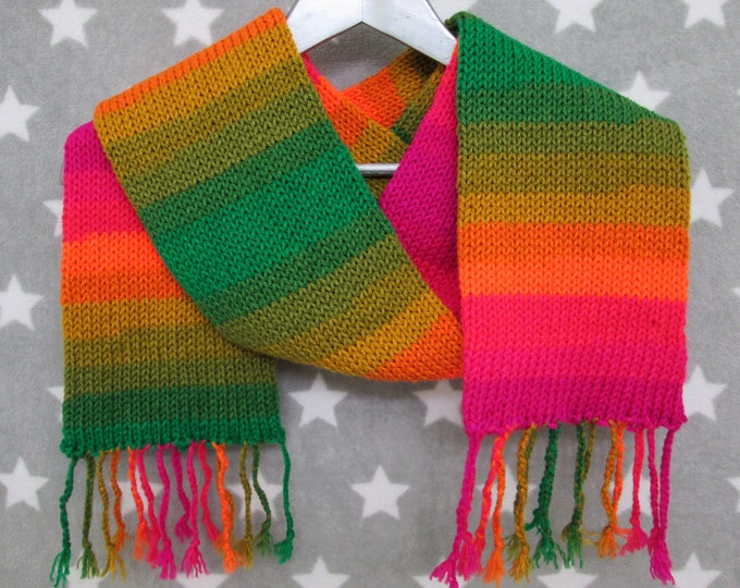 Knit Scarf - Autumn Leaves Striped Scarf - Acrylic
