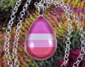 Lesbian Pride - Lesbian Pride Flag Pendant Necklace - Silver Teardrop