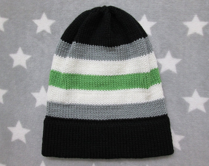 Knit Pride Hat - Agender Pride - Slouchy Beanie