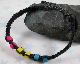 Hemp Pride Bracelet - Pan Pride - Black - Ceramic Beads