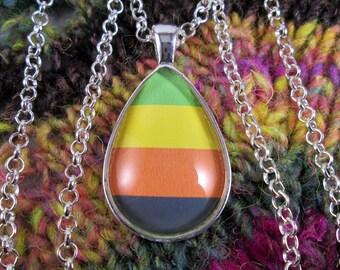 Aromantic Pride - Aro Pride Flag Pendant Necklace - Flag 2 - Silver Teardrop