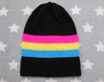 Knit Pride Hat - Pan Pride - Slouchy Beanie - Black & Neon Colors