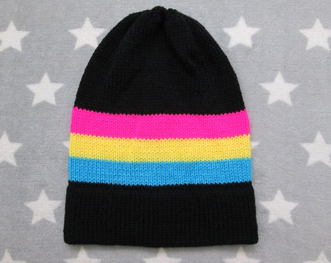 Knit Pride Hat - Pan Pride - Slouchy Beanie - Black & Neon Colors